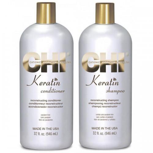 Набор CHI Keratin: Восстанавливающий кератиновый шампунь CHI Keratin Reconstructing Shampoo 946 ml + Conditioner 946 ml
