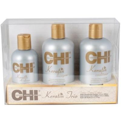 Набор CHI Keratin Reconstructing Trio: шампунь 355 мл + кондиционер 355 мл + шелк 177 мл