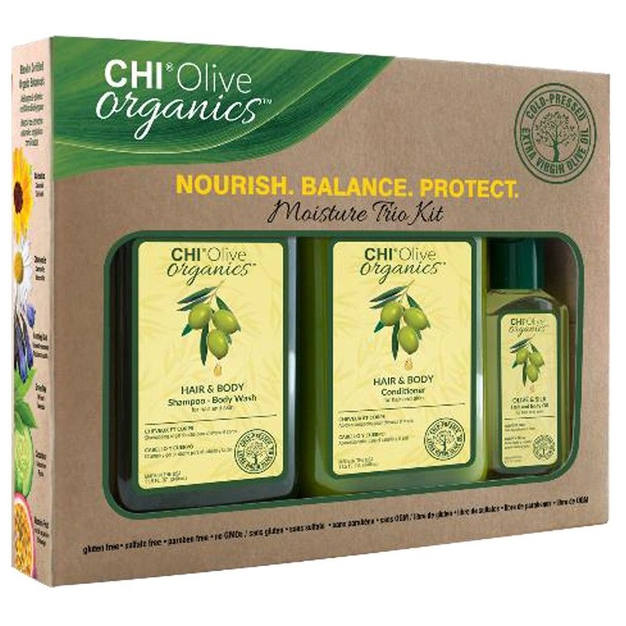 Набор 3 в 1 CHI Olive Organics Moisture Trio Kit: шампунь 340 мл. + кондиционер 340 мл. + шелковое масло 59 мл.